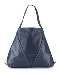 Neiman Marcus Made In Italy Whipstitch Leather Slouchy Tote Bag Denim Blue