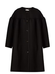 Chloe Collarless Ruffle Trimmed Wool Blend Coat Black