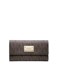 Michael Kors Jet Set Travel Saffiano Leather Logo Checkbook Wallet Brown