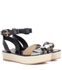 Burberry Parkeston Leather Espadrille Sandals Black