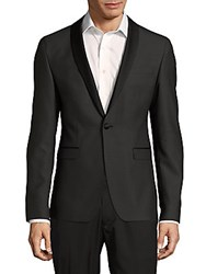Sand Wool Blend Shawl Lapel Jacket Black