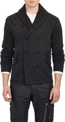 Ralph Lauren Black Label Double Breasted French Terry Jacket Black Siz