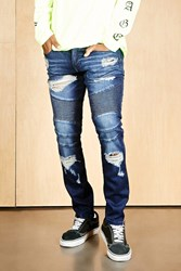 Forever 21 Young And Reckless Moto Jeans Blue