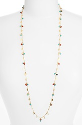 Lonna Lilly Long Embellished Necklace Worn Gold Coral