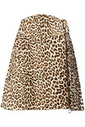 Carven Leopard Print Wool Blend Felt Mini Skirt Animal Print