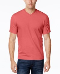 Tasso Elba Men's V Neck Heathered T Shirt Light Pomegrnate