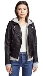 Doma Hoodie Leather Jacket Black With Grey