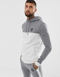 11 Degrees Hoodie In Grey Panel