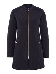 Gant Quilted Knee Length Coat Navy