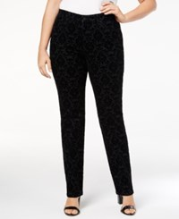 Charter Club Plus Size Lexington Flocked Tummy Control Jeans Created For Macy's Black Rinse