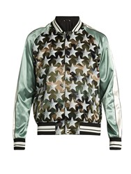 Valentino Souvenir Camouflage And Stars Print Jacket Green