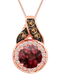 Le Vian Raspberry Rhodolite Garnet 1 Ct. T.W. And Diamond Accent Pendant Necklace In 14K Rose Gold Red