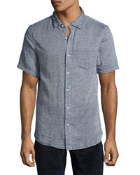 Jachs Ny Textured Short Sleeve Button Front Shirt Charcoal