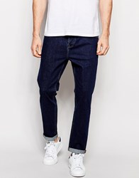 Asos Stretch Tapered Jeans In Indigo Blue