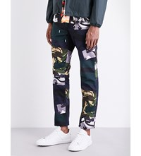 Kenzo Broken Camouflage Print K Fit Cotton Trousers Midnight Blue