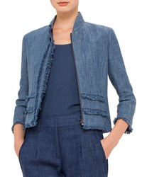 Akris Punto 3 4 Sleeve Fringe Trim Jacket Bleached Denim Bleched Denim
