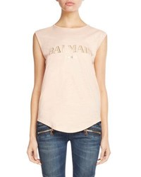 Balmain Foiled Logo Button Shoulder Tank Red