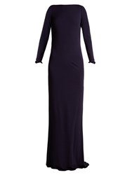 Azzaro Ava Crystal Embellished Jersey Gown Navy