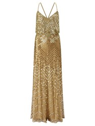 Adrianna Papell Sleeveless Sequin Evening Dress Yellow