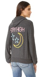 Wildfox Couture Stay High Zip Up Hoodie Clean Black