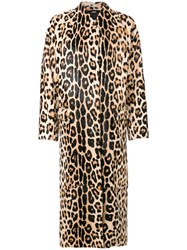 Liska Leopard Print Coat Goat Fur L Brown