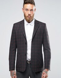 Asos Skinny Blazer In Red And Grey Check Charcoal
