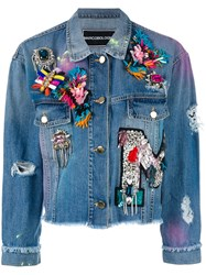 Marco Bologna Embellished Apliques Cropped Denim Jacket Blue