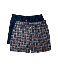 Tommy Bahama Island Washed Cotton Woven Boxer Set Midnight Leaves Geo Underwear Multi