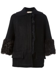 Marni Shearling Boxy Jacket Black