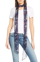 Hinge Women's Floral Skinny Scarf Navy Combo
