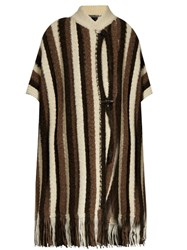 Raquel Allegra Tassel Trimmed Alpaca Blend Poncho Brown Stripe