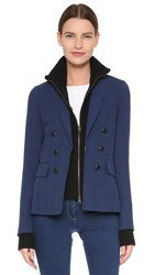 Veronica Beard Jackson Peak Lapel Blazer Black Blue Plaid Black Dickey