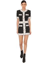Balmain Fringed Tweed Mini Dress Black