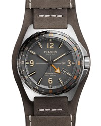 44Mm Journeyman Gmt Watch With Leather Strap Gray Filson