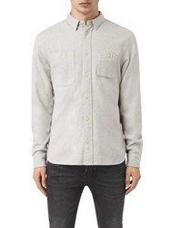 Allsaints Sereno Long Sleeve Slim Shirt Smoke Grey