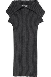 Jil Sander Fold Over Ribbed Wool And Cashmere Blend Scarf Anthracite