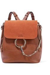 Chloe Faye Medium Leather And Suede Backpack Tan