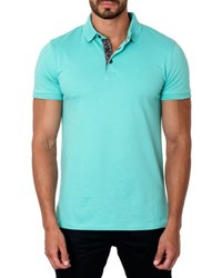 Jared Lang Short Sleeve Cotton Blend Polo Shirt Turquoise