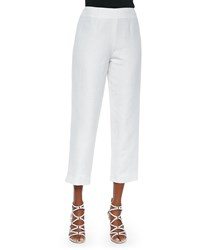 Neiman Marcus Lined Linen Blend Cropped Pants White