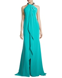 Carmen Marc Valvo Ruffled Front Gown With Beaded Halter Neckline