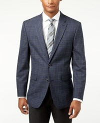 Tommy Hilfiger Men's Slim Fit Blue Plaid Sport Coat