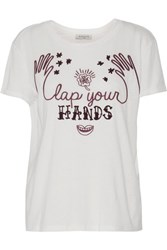 Sandro Turman Embroidered Flocked Cotton And Modal Blend T Shirt White