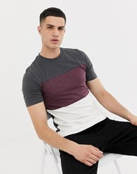 Only And Sons Block Stripe T Shirt Dark Grey Melange White