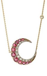 Renee Lewis Women's Crescent Pendant Necklace Colorless
