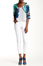 Tracy Reese Tonal Banded Slim Pant White