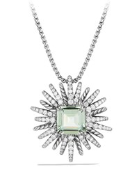 30Mm Starburst Diamond And Prasiolite Pendant Necklace Silver David Yurman