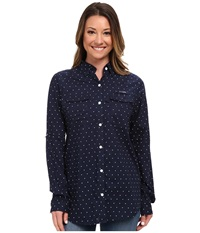 Columbia Super Bonehead Ii L S Shirt Collegiate Navy Printed Polka Dot Women's Long Sleeve Button Up