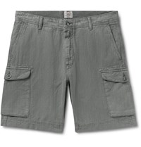 Faherty Wide Leg Linen And Cotton Blend Cargo Shorts Gray