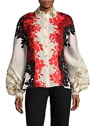 Carolina Herrera Floral Long Sleeve Shirt Sienne Clay