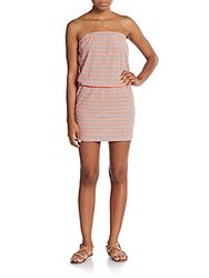 Saks Fifth Avenue Red Striped Strapless Dress